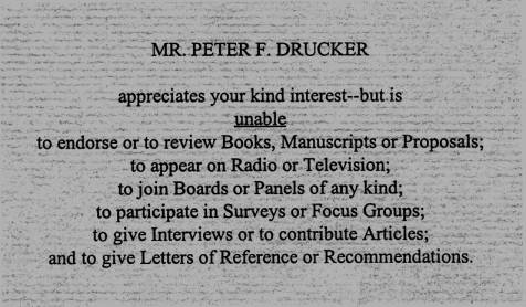 How Peter Drucker managed to be so productive and so generous with his time